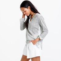 J.Crew Petite Floral Block Print Tunic With Silver Tape