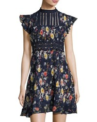 Foxiedox Floralia Striped Bib Dress Blue Pattern