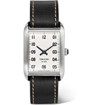 Tom Ford 001 Stainless Steel And Leather Watch Black