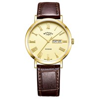 Rotary Gs05303 09 Men's Windsor Day Date Leather Strap Watch Brown Gold