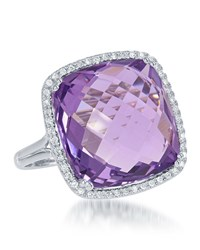 Diana M. Jewels 14K White Gold Cushion Cut Pink Topaz And Diamond Ring Size 6.5