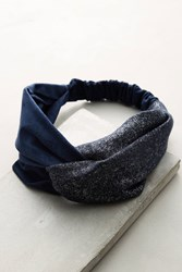 Anthropologie Knotted Tweed Headband Navy