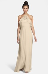 Women's Amsale Ruffle Detail Crinkled Silk Chiffon Halter Gown Champagne