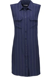 Equipment Striped Washed Silk Mini Dress Navy