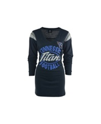 5Th And Ocean Women's Long Sleeve Tennessee Titans Shoulder Stripe T Shirt Navy