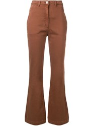 Alberta Ferretti Flared Slim Fit Trousers Brown