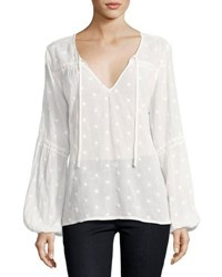 Sanctuary Gabby Long Sleeve Eyelet Top White