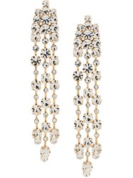 Alberta Ferretti Crystal Drop Earrings Metallic