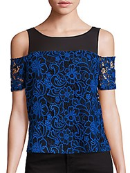 Cooper And Ella Emma Midnight Floral Cold Shoulder Top Blue
