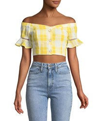 Red Carter Off The Shoulder Gingham Crop Top Yellow