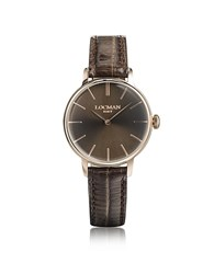 Locman 1960 Rose Gold Pvd Stainless Steel Women's Watch W Brown Croco Embossed Leather Strap