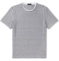 Theory Rylee Slim Fit Striped Pima Cotton Jersey T Shirt White