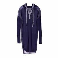 Paychi Guh Cashmere Sweater Dress Hoodie Navy Ivory Blue