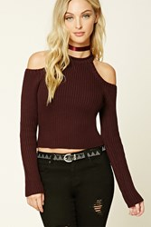 Forever 21 Open Shoulder Sweater Plum