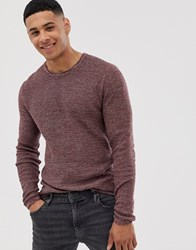 Only And Sons Knitted Jumper With Red Mixed Yarn Cotton