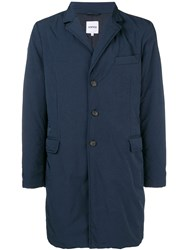 Aspesi Button Up Parka Coat Blue