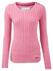 Superdry Croyde Cable Crew Neck Jumper Pink
