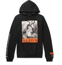 Heron Preston Printed Cotton Jersey Hoodie Black