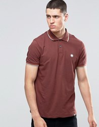 Pretty Green Polo Shirt With Twin Tip In Slim Fit Burgundy Burgundy Red