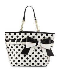 Betsey Johnson Gift Me Baby Polka Dot Tote Bag Cream Black