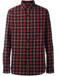 Denham Jeans 'Pocket Brushed Flannel' Shirt Red