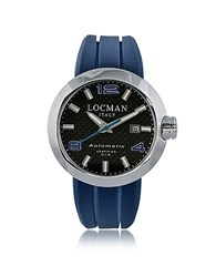 Locman Change Stainless Steel Round Case Automatic Men's Watche W Silicone And Leather Straps Blue