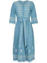 Guild Prime Embroidered Tie Waist Shirt Dress Blue