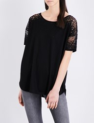 French Connection Distressed Detail Jersey Top Black
