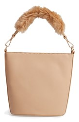 Leith Faux Fur Handle Medium Crossbody Bag Beige Tan