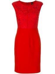 Marc Cain Lace Bust Dress Viscose Polyamide Red