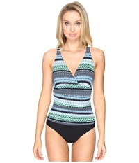Jantzen Geo Graphic Stripe C D Cup Over The Shoulder One Piece Cool Women's Swimsuits One Piece Blue