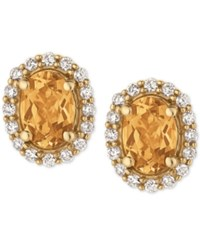 Le Vian Yellow Beryl 1 1 10 Ct. T.W. And Diamond 1 4 Ct. T.W. Stud Earrings In 14K Gold Yellow Gold