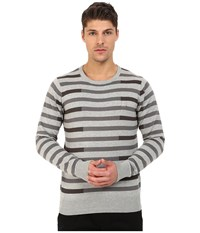 Bench Stagger Crew Neck Knit Grey Marl Men's Clothing Gray