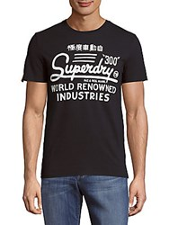Superdry 300 Reworked Printed Cotton Tee Eclipse Navy