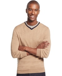 Club Room Big And Tall Merino Wool V Neck Sweater Only At Macy's Toasted Caramel