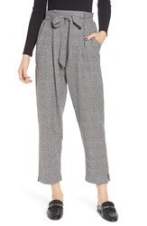 Angie Plus Size Paperbag Waist Glen Plaid Pants Black White