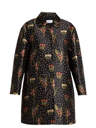 Red Valentino Blooming Garden Jacquard Round Collar Coat Black Multi