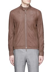 Armani Collezioni Lambskin Leather Blouson Jacket Brown