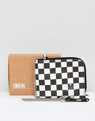 Asos Faux Leather Zip Around Wallet In Checkerboard Print Black White Multi