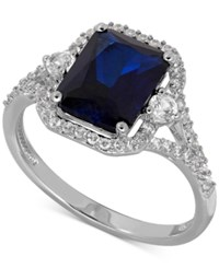 Macy's Lab Created Sapphire 3 Ct. T.W. And White Sapphire 3 8 Ct. T.W. Ring In Sterling Silver
