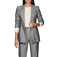 Les Coyotes De Paris Harley Plain Weave One Button Blazer Gray