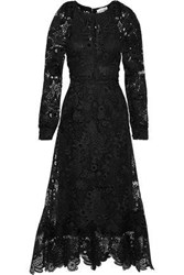 Antik Batik Lacy Pleated Guipure Lace Maxi Dress Black