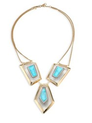 Alexis Bittar Lucite Liquid Visage White Quartz And Howlite Turquoise Bib Necklace Gold Turquoise