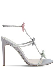 Rene Caovilla 105Mm Satin And Crystals Sandals Silver