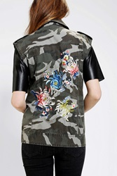 Silence And Noise Silence Noise Embroidered Camo Moto Vest Green Multi