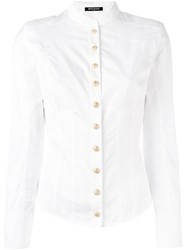 Balmain Collarless Shirt White