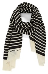 Women's Marc By Marc Jacobs 'Jacqueline' Stripe Wool Scarf Beige Ecru Multi