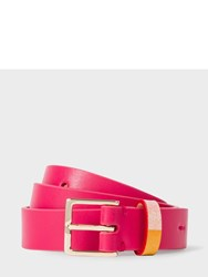 Paul Smith Women's Pink Leather Belt With 'Artist Stripe' Keeper
