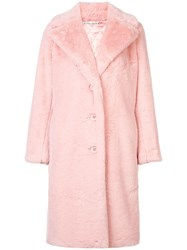 Alice Olivia Foster Faux Fur Oversized Coat Pink