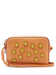 Mansur Gavriel Cammello Floral Embellished Leather Cross Body Bag Tan Multi